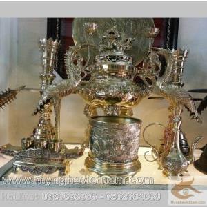 Đỉnh đồng vàng thờ cúng, ngũ sự hạc nến, cao 50cm