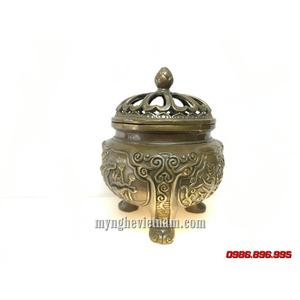 Đỉnh đốt trầm hoa sen có 3 chân hoa văn pháp khí Phật Pháp 15cm