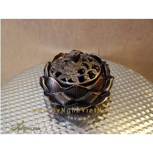 Đỉnh đốt trầm hoa sen đk 10cm bằng đồng giả cổ