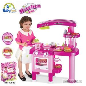 Đồ chơi mô hình BBT GLOBAL - Bộ đồ chơi nấu ăn cao cấp có máy hút mùi hồng - 008-82
