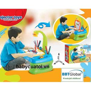 Đồ chơi mô hình BBT GLOBAL - Đèn bàn máy chiếu học vẽ kèm bảng chữ nam châm xanh - 8861