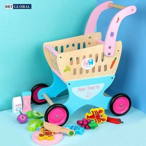 Đồ chơi mô hình BBT GLOBAL - Đồ chơi xe đẩy siêu thị cho bé bằng gỗ - MSN17069