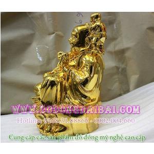 Tượng Di Lặc mạ vàng bế 5 trẻ bằng đồng cao 15cm