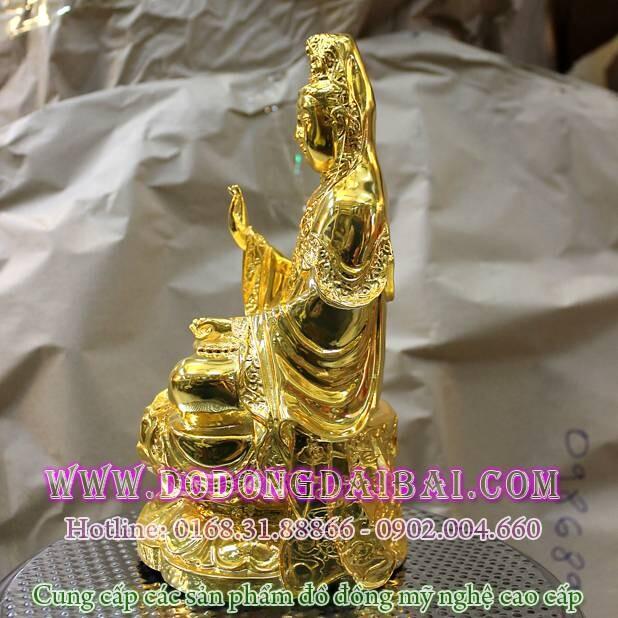 Tượng quan âm bồ tát bằng đồng mạ vàng 25cm