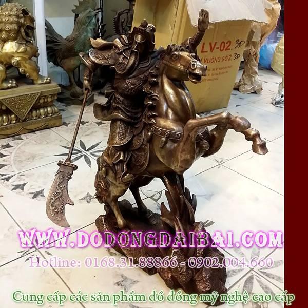 Tượng quan công cưỡi ngựa cao 50cm