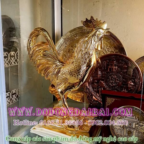 Tượng gà đồng mạ vàng 18k cao 36cm