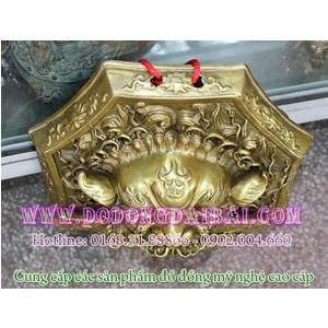 Mặt hổ phù ngậm kiếm bằng đồng đk 25cm