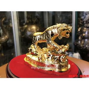 Tượng hổ bằng đồng mạ vàng 24k để bàn làm việc