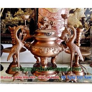 Bộ đỉnh thờ hoa sòi 42cm bằng đồng màu mắt cua