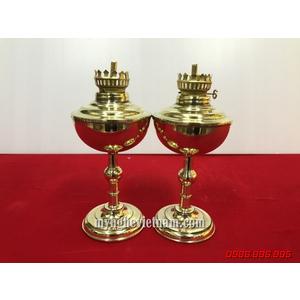 Đôi đèn dầu thờ cúng bằng đồng vàng nguyên chất cao 20cm