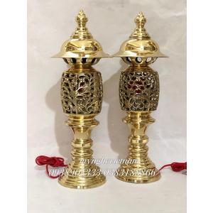 Đôi đèn quả dứa bằng đồng cao 40cm