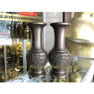 Đôi lọ hoa cao 30cm bằng đồng giả cổ