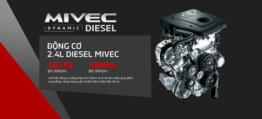 Động cơ dầu 2.4L được đúc bằng hợp kim nhôm trên Pajero Sport 2020