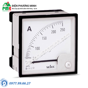 Đồng hồ đo dòng điện Selec, dạng analog - Model AM-I-3-1500/5A (96x96)