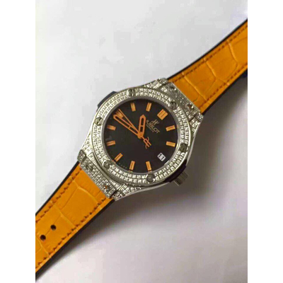 Đồng hồ nữ Hublot diamond stainless steel case dial orange HBL066