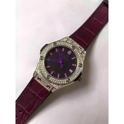Đồng hồ nữ Hublot diamond stainless steel case dial purple HBL063