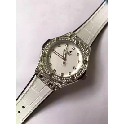 Đồng hồ nữ Hublot diamond stainless steel case dial white HBL064