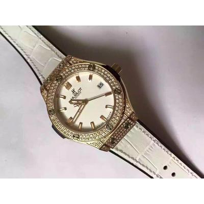 Đồng hồ nữ Hublot full diamond dial white black rubber cord 33mm HBL055