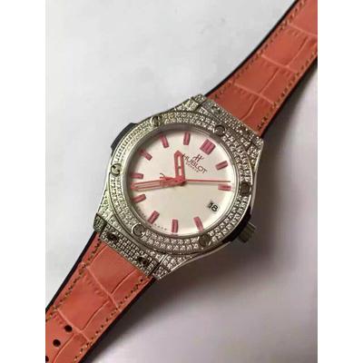 Đồng hồ nữ Hublot full diamond dial white orange rubber strap HBL060