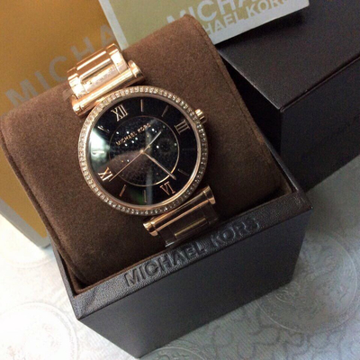Đồng hồ nữ Michael Kors Caitlin Gold Rose Crystal Black Dial MK3356
