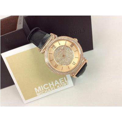 Đồng hồ nữ Michael Kors Catlin Black Leather Strap 38mm MK2376