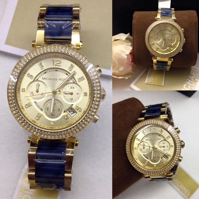 Đồng hồ nữ Michael Kors Chronograph Parker Gold-Tone Navy Bracelet MK6328