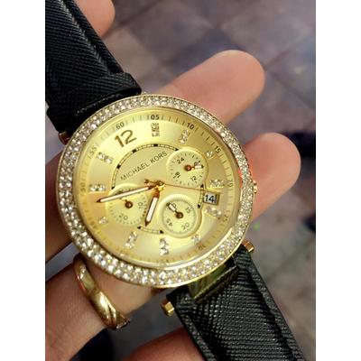 Đồng hồ nữ Michael Kors Parker Chronograph Gold-tone black Leather MK2280