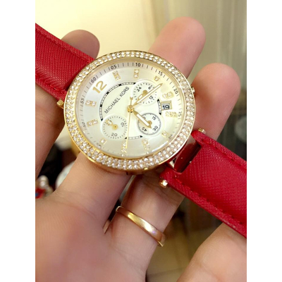Đồng hồ nữ Michael Kors Parker Chronograph Gold-tone Red Leather MK2280