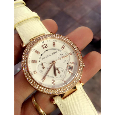 Đồng hồ nữ Michael Kors Parker White Leather Rose Gold Steel Chronograph MK2281
