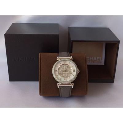 Đồng hồ nữ Michael Kors Silver Catlin Brown Leather 38mm MK2377