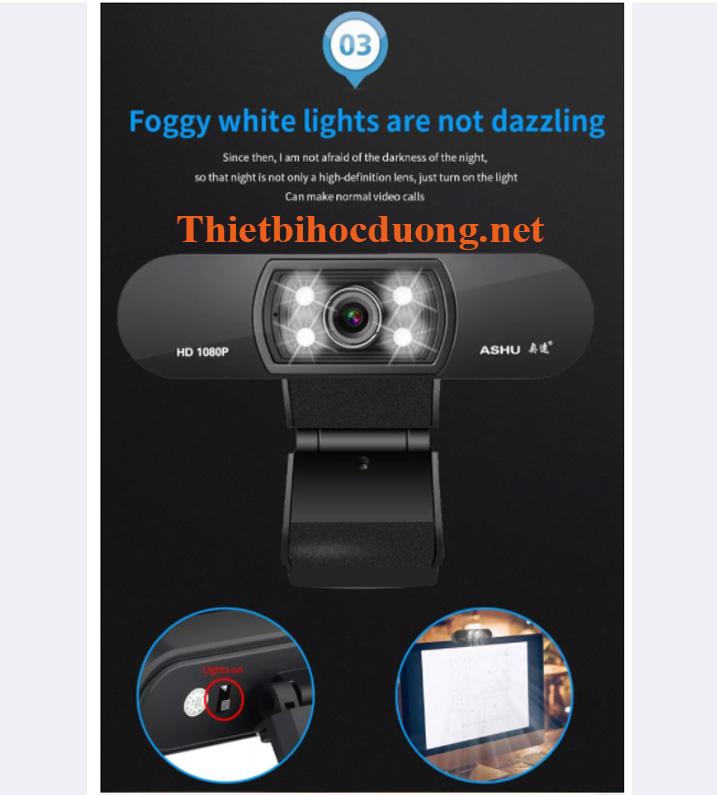 Webcam Full HD Ashu cao cấp tích hợp mic đa hướng lọc tạp âm tốt