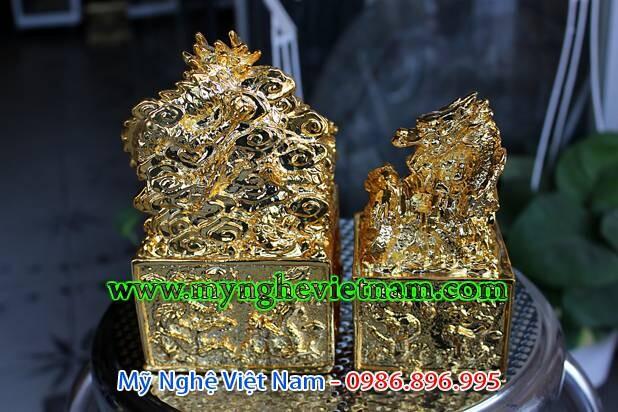 Ấn rồng thăng quan phong thủy mạ vàng cao cấp