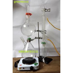 Dụng cụ chưng cất chiết xuất tinh dầu bằng hơi nước mini 2000 ml - chất liệu thủy tinh