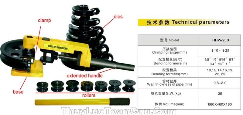 Dụng cụ uốn ống bằng tay hhw-25s - cấu tạo và thông số kỹ thuật