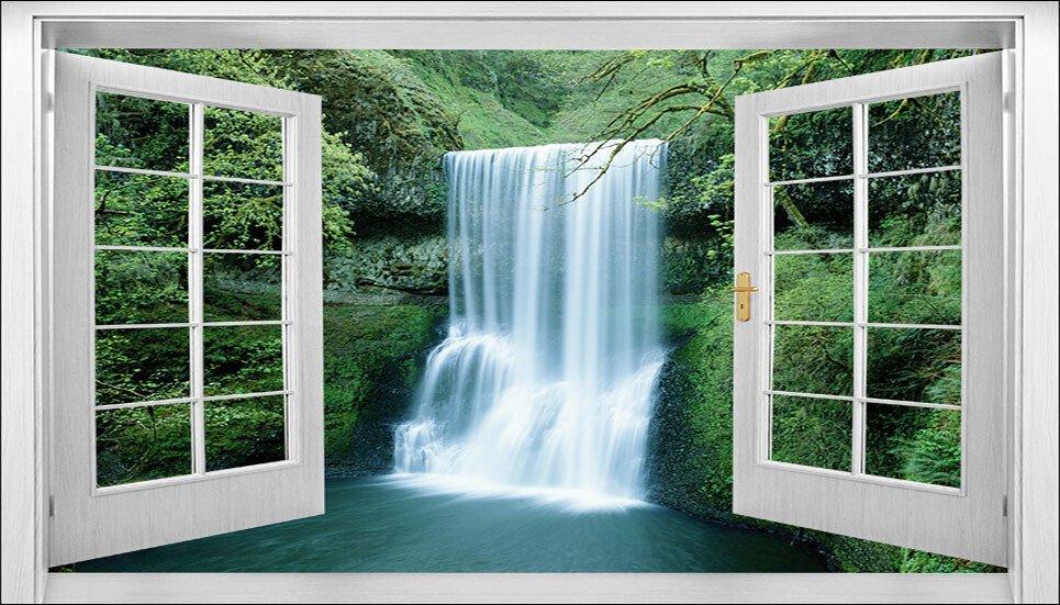 Tranh dán tường cửa sổ thác nước