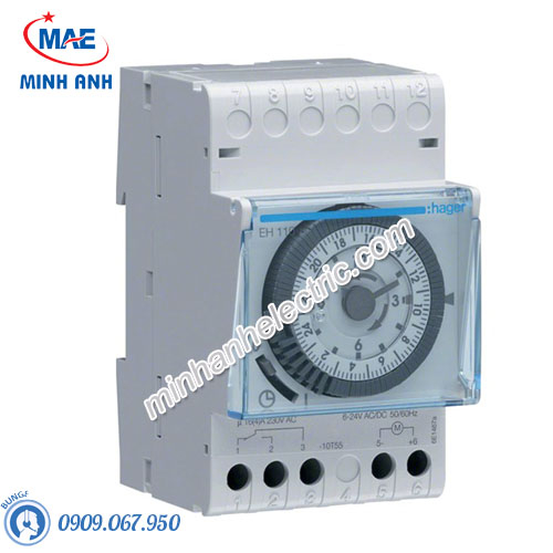 Timer 24h Hager - Model EH110 loại Analog
