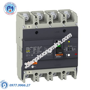 ELCB Type H 4P 100A 36kA 415VAC 0.1-1A - Model EZCV250H4100