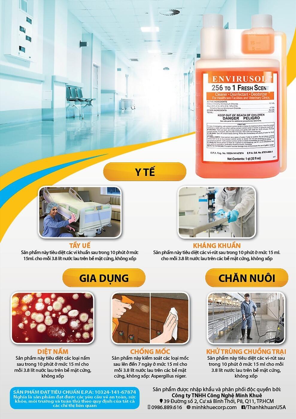 Dung dịch diệt khuẩn, khử trùng, khử mùi, diệt nấm mốc ENVIRUSOL 256 in 1