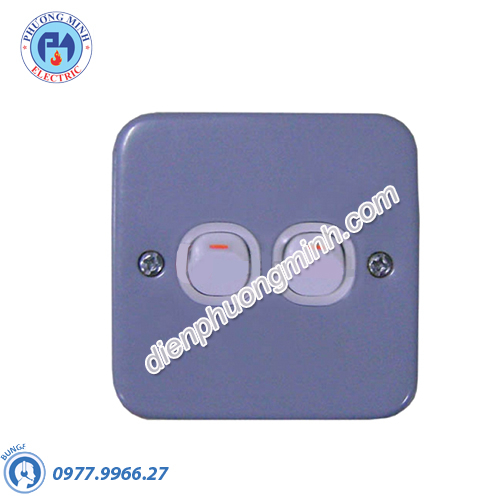 Công tắc đôi 1 chiều 10A mặt kim loại - Model ESM32_1_2AR