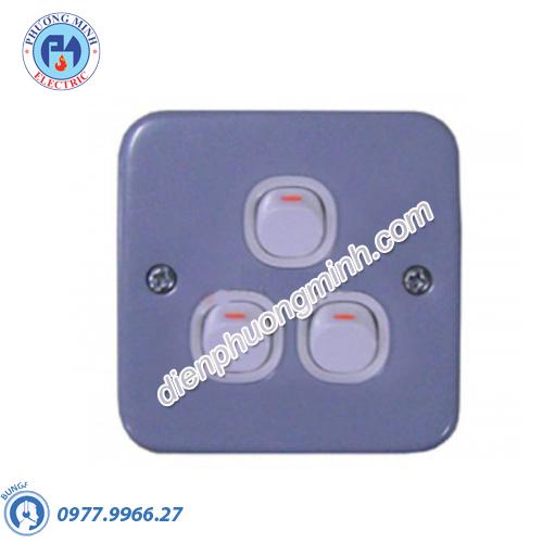 Công tắc ba 1 chiều 10A mặt kim loại - Model ESM33_1_2AR