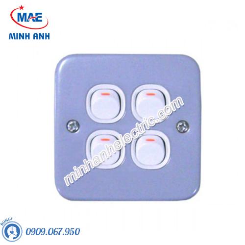 Bộ công tắc bốn 1 chiều 10A, mặt kim loại-Series ESM - Model ESM34_1_2AR