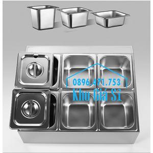 Hộp inox chữ nhật 6 ngăn giữ lạnh thạch topping trà sữa, trái cây tô