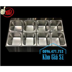 Thùng, Hộp inox 8 ngăn giữ lạnh thạch topping trà sữa