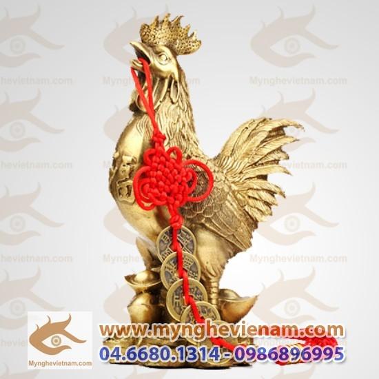 Tượng gà phong thủy bằng đồng đứng tiền cao 20cm
