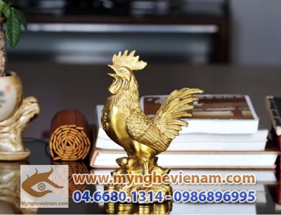 Tượng gà phong thủy bằng đồng đứng tiền cao 20cm, tượng gà đồng kim kê đúc đồng nguyên khối làm quà tặng và bày trí phong thủy nhà cửa