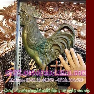 Tượng gà đồng giả cổ cao 42cm