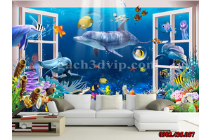 Gạch 3D đại dương giúp cho phòng khách của bạn thêm lộng lẫy