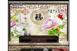 Gạch 3d hoa mẫu đơn biểu tượng của thịnh vượng, vinh hoa