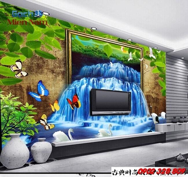 Gạch 3d ốp tường phòng khách TNM317
