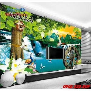 Gạch 3d ốp tường phòng khách TNM297